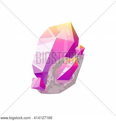 Violet Gem Stone Crystal In Rock Isolated Natural Mineral Gemstone Icon. Vector Ui Game Treasure, Pu