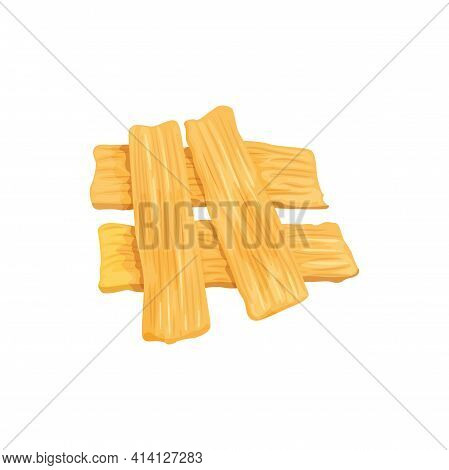 Soy Or Tofu Skin Isolated Soybean Product Realistic Icon. Vector Soybean Skin Slices, Beancurd Japan