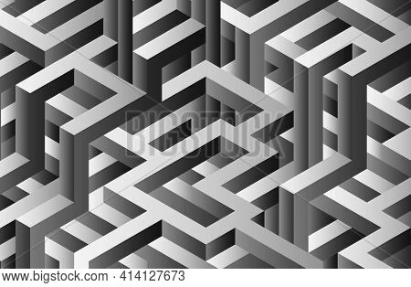 Gray Geometric 3d Maze Background. Isometric Black And White Labyrinth Illustration. 3d Renderong Ge