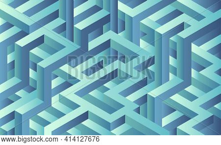 Maze 3d Rendering. Blue Cyan Labyrinth Illustration. Maze Confused Abstract Background