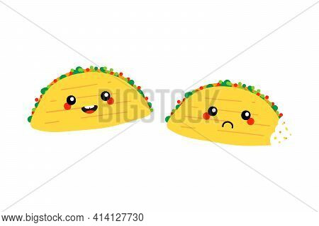 Couple Of Taco Characters, Traditional Mexican Dish Characters, Smiling And Happy And Sad With Bite