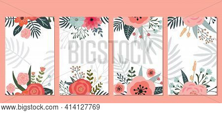Set Of Postcards With Elements Of Spring Flowers And Floral Elements For Your Design. Hand-drawn.