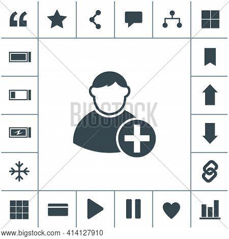 Vector Icon Of Add Friend Contact. Add User Sign Icon. Avatar Icon.