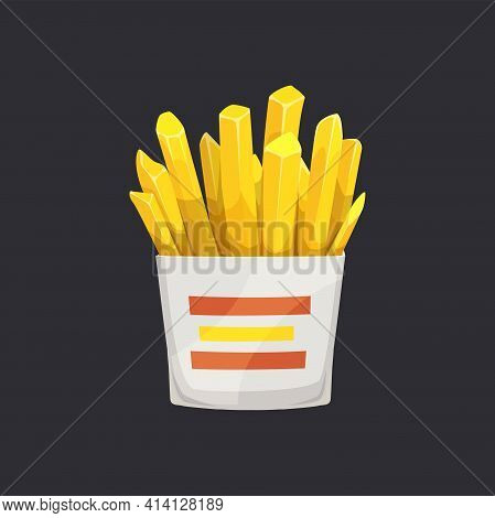 French Fries, Fried Potatoes In White Box Isolated Takeaway Food. Vector Street Food, Fastfood Snack