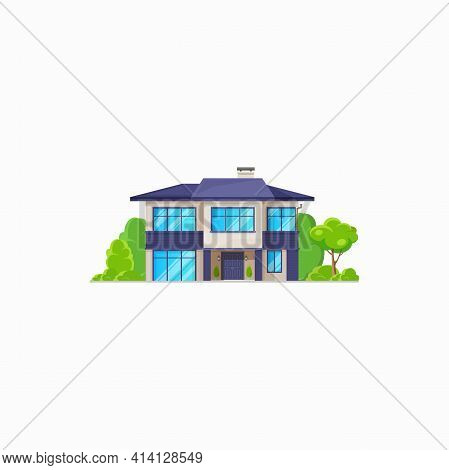 Suburban House With Chimney, Panoramic Windows And Door Isolated Realistic Home. Vector Private Prop