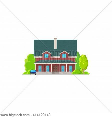 American House With Retro Car Near Garage, Rural Museum Or Government House, Two-storied Building Is