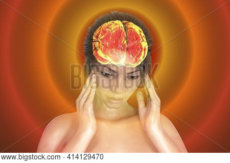 Headache, Migraine, Stroke, Conceptual 3d Illustration Showing A Woman With Pain In Head And Highlig
