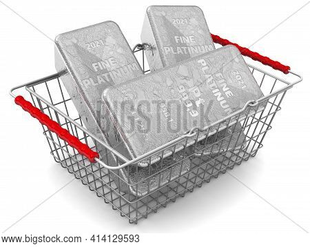 Buying Platinum Ingots. There Are Three Ingots Of 999.9 Fine Platinum In The Grocery Basket. 3d Illu