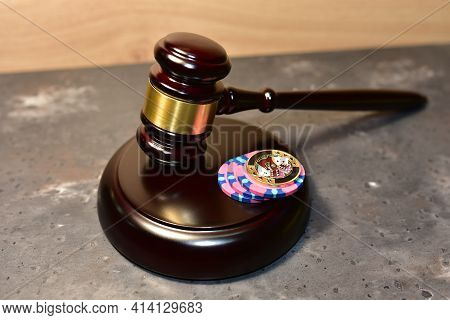 Judge Hammer And Poker Chip For Casino Game. Justice Courtroom. Concept Of A Court Decision In A Cas