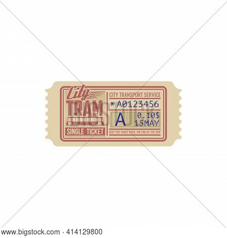 One Trip Single Ticket On Tram Template Isolated Icon. Vector City Transportation Services Pass, Pas