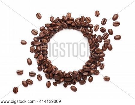 Coffee Beans With Round Copyspace Against White Background