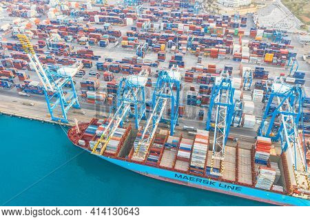 Huge Maersk Line Cargo Ship For Transporting Containers In Port At Unloading. Malta, Il Brolli Marsa
