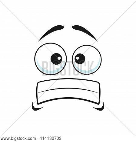 Cartoon Face Vector Frightened Or Worry Emoji, Scared Facial Expression With Goggle Eyes And Tightly
