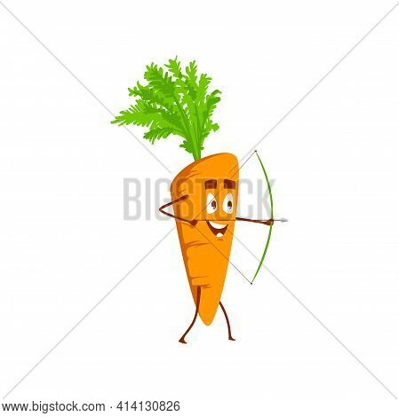 Cartoon Carrot Vegetable Shoot With Bow. Vector Archery Sportsman Plant, Funny Character Shooting Ex