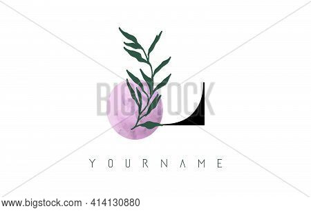 L Letter Logo Design With Pink Circle And Green Leaves. Vector Illustration With With Botanical Elem