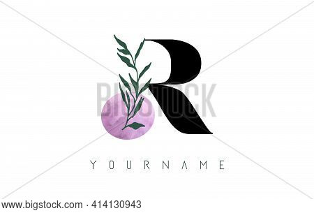 R Letter Logo Design With Pink Circle And Green Leaves. Vector Illustration With With Botanical Elem