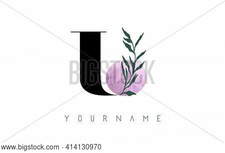 U Letter Logo Design With Pink Circle And Green Leaves. Vector Illustration With With Botanical Elem