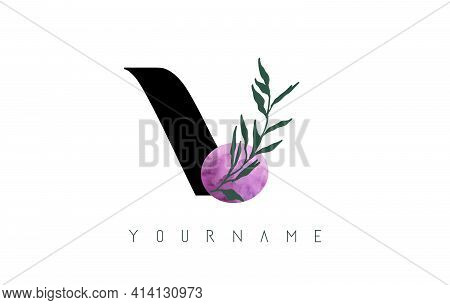 V Letter Logo Design With Pink Circle And Green Leaves. Vector Illustration With With Botanical Elem