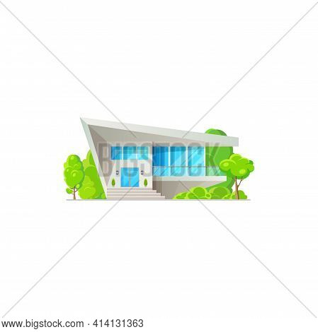 Modern Villa, Home On Sale Or Rent, Townhouse Residence Isolated. Vector Urban Chalet, Dwelling Outd