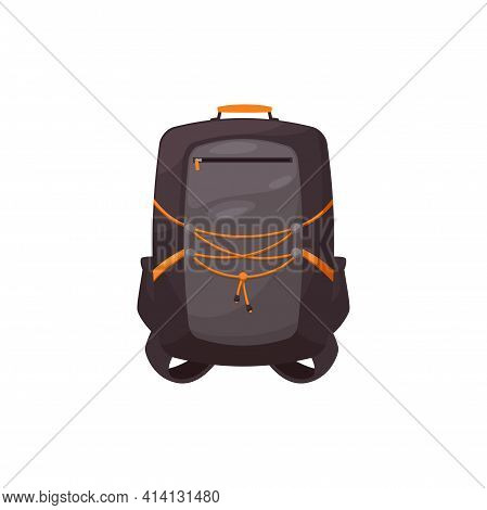 Kids Schoolbag Isolated Vector Icon, Cartoon Rucksack Of Black And Orange Colors. Student Or Hiking