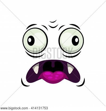 Monster Face Isolated Vector Icon, Cartoon Emotion. Halloween Funny Creature With Sharp Fangs And Go