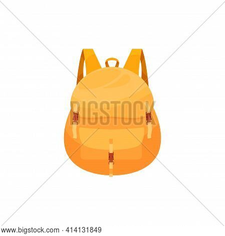 Kids Schoolbag Isolated Vector Icon, Cartoon Rucksack Of Orange Color, Student Or Hiking Backpack, T