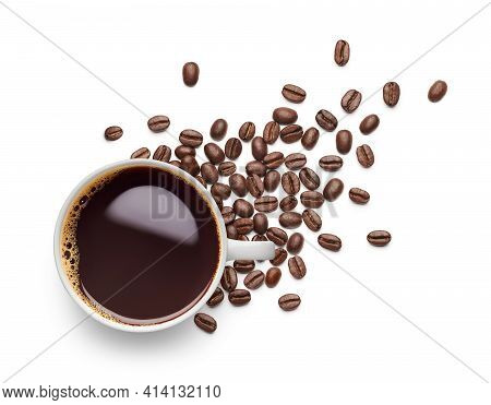 Cup Of Black Coffee And Coffee Beans Over White Background