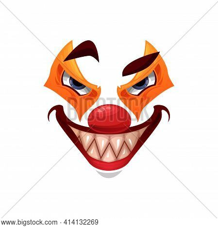 Scary Clown Face Vector Icon, Halloween Creepy Smile Funster Character. Emoticon Mask With Orange Ma