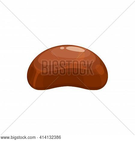 Chocolate Candy Vector Icon. Sweet Dessert, Choco Candy With Praline, Cocoa Dark, Bitter Or Milk Cho
