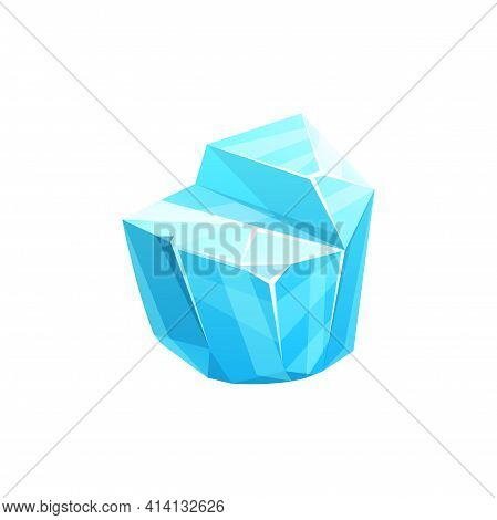 Ice Crystal, Blue Iced Floe Vector Icon. Salt Mineral Or Cave Stalagmite. Cap Snowdrift, Icicle Wint