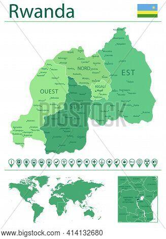 Rwanda Detailed Map And Flag. Rwanda On World Map.