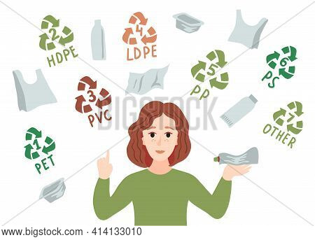 Categories Of Plastic Types. Types Of Plastic Marking. A Girl Sorts Plastic Garbage. Sorting Plastic