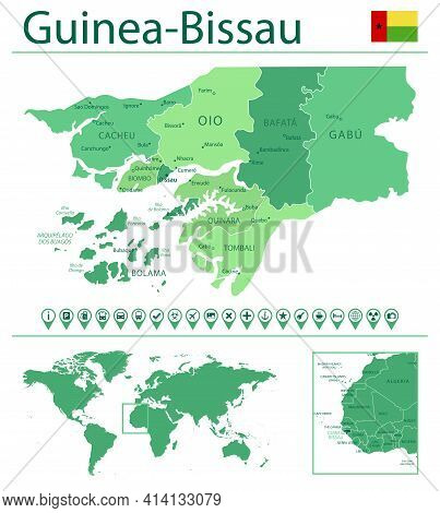 Guinea-bissau Detailed Map And Flag. Guinea-bissau On World Map.