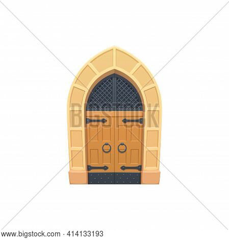 Medieval Aged Door With Ring Handles Isolated Flat Cartoon Entry. Vector Retro European Doorway, Ent