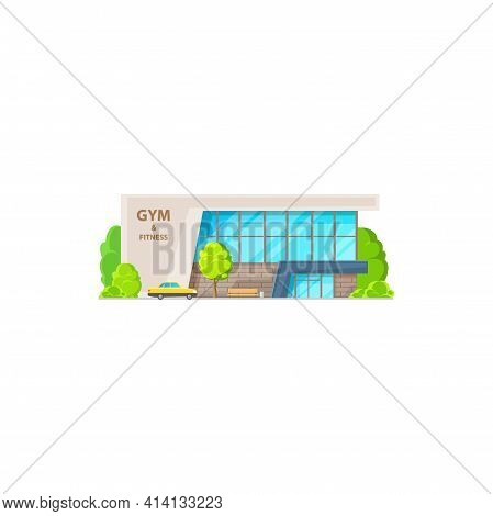 Modern Sport Gym Isolated City Architecture Building, Glass Workout Entertainment Fitness Center Fla