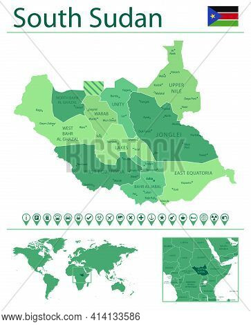 South Sudan Detailed Map And Flag. South Sudan On World Map.
