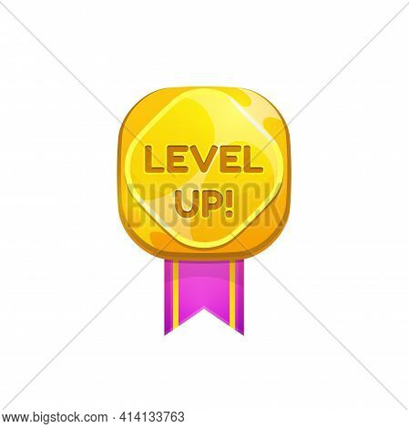 Golden Medal Award For Level Up Isolated Ui Game Prize, Pink Ribbon Isolated Flat Cartoon Icon. Vect