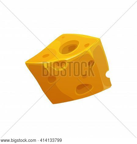 Emmental Swiss Cheese Italian And French Traditional Food, Appetizer Isolated Realistic Icon. Vector