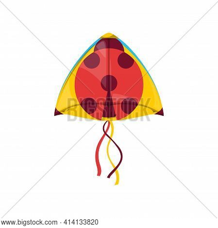 Kite In Shape Of Ladybird Or Lady-beetle In Sky Isolated Kids Toy. Vector Kite-balloon On Wind, Cart