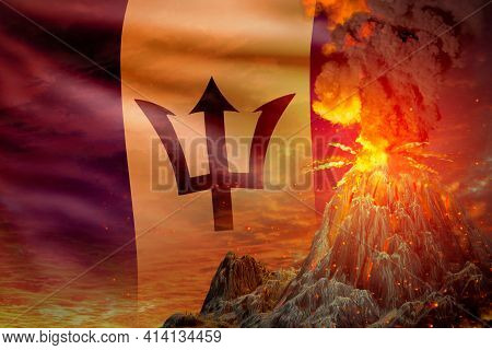 Conical Volcano Eruption At Night With Explosion On Barbados Flag Background, Troubles Because Of Er