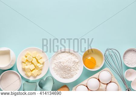 Baking Or Cooking Background. Ingredients, Kitchen Items For Baking. Top View.