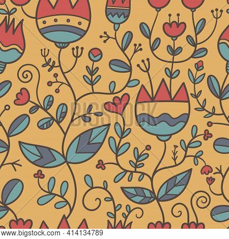 Seamless Pattern With Different Plants And  Flowers On Ocher Background. Vector Print With Herbs. Bo