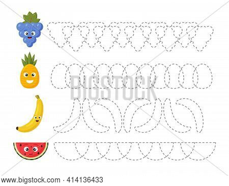 Educational Tracing Worksheet For Kids Kindergarten, Preschool And School Age. Trace The Fruits. Das