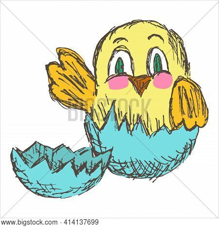 Cartoon Grunge Doodle Of The Chicken Hatching From Egg. Simple Vector Illustration Of A Cute Cheerfu