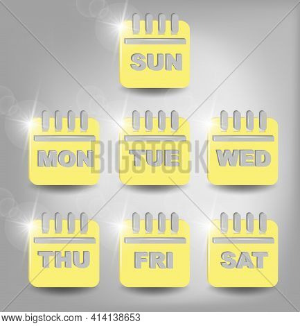 Calender Icon, Days Of The Week. Set Every Day A Week. Calendar Symbol For Your Web Site Design, Log