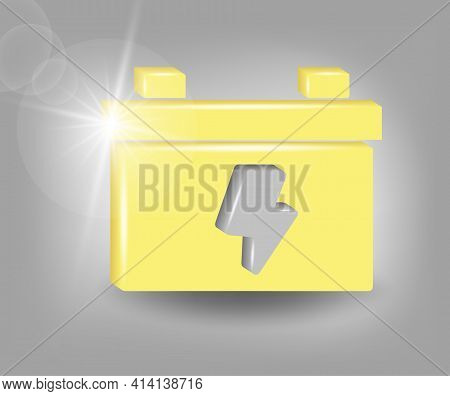 Car Battery Icon. Accumulator Battery Energy Power And Electricity Accumulator Battery. 3d Vector Il