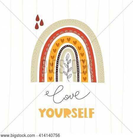 Love  Yourself. Cartoon Rainbow, Hand Drawing Lettering. Colorful Vector Illustration, Flat Style. D