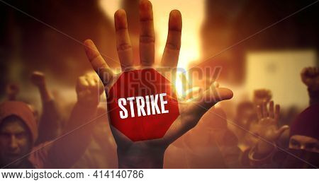 Strike - Close-up Of Raised Arm On Strike. Public Protest And Struggle For Strike.