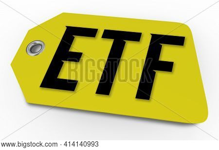 ETF Exchange Traded Fund Price Tag Share Cost Trading Stocks 3d Illustration