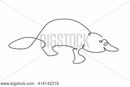Platypus One Line. Australian Platypus In Outline